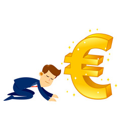 Businessman worshipping money golden euro symbol vector