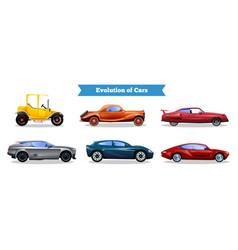 Car evolution flat set vector