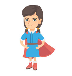 caucasian brave girl wearing superhero costume vector image