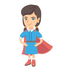 caucasian brave girl wearing superhero costume vector image