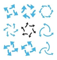 Centrifugal Arrows Flat Icon Set vector