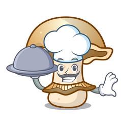 Chef with food portobello mushroom mascot cartoon vector