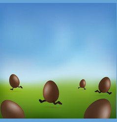 chocolate egg 3d happy easter brown easter vector image