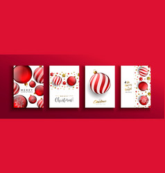 Christmas new year red 3d bauble ball card set vector