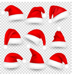 christmas santa claus hats with fur and shadow set vector image