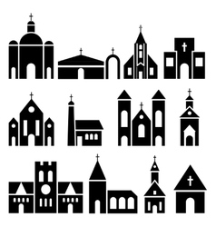 Church building icons basilica and chapel vector