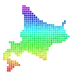 Colored pixel hokkaido island map vector