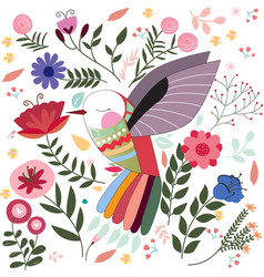 colorful bird in sptring summer flower garden vector image