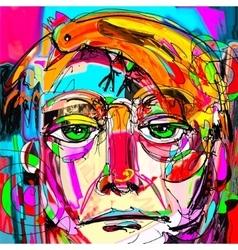 Contemporary digital painting portrait man vector