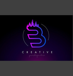 creative b letter logo idea with pine forest vector image