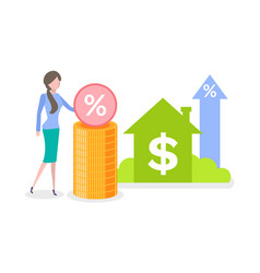 credit and percent dwelling and dollar vector image