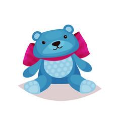 cute blue teddy bear toy cartoon vector image