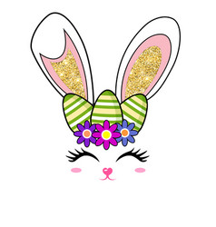 cute easter bunny face glitter ears and eggs vector image