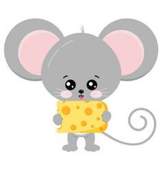 Cute mouse and cheese in paws vector