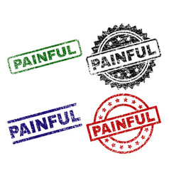 Damaged textured painful seal stamps vector