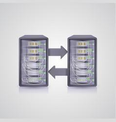 data transmission through server vector image