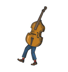 double bass walks on its feet sketch engraving vector image