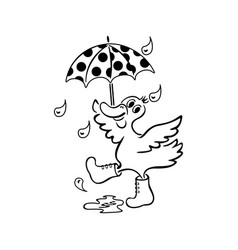 duck with an umbrella hand drawn black and vector image