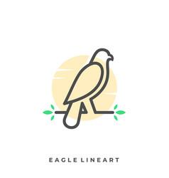 eagle line art template vector image