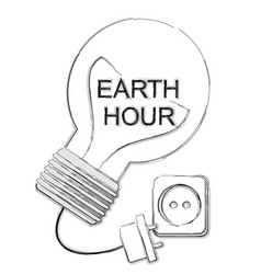 Earth hourlampsaving electricity vector