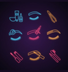 Eyebrows shaping neon light icons set vector