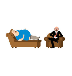Fat woman at psychologist reception consultation vector