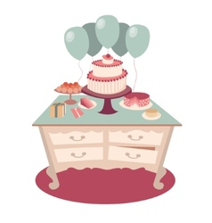 Festive table with sweets and balloons vector