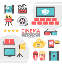 flat cinematography icons collection vector image