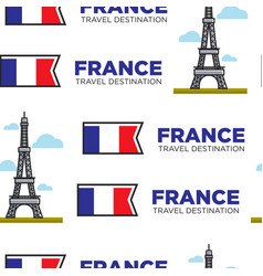 france traveling eiffel tower and french flag vector image