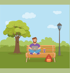 freelancer happy young men working on the bench in vector image