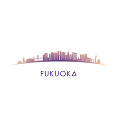 fukuoka skyline silhouette design colorful vector image