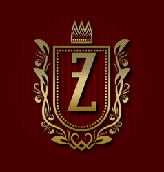 Golden royal coat of arms with z monogram vector