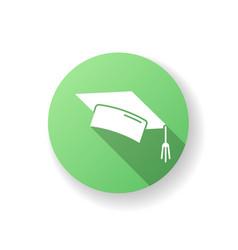 Graduation cap green flat design long shadow vector