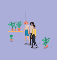 group of people with houseplants in shelf vector image