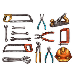 hand tool work instrument isolated sketches vector image