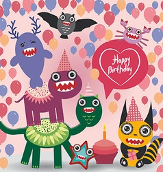 Happy birthday Funny monsters party card design vector