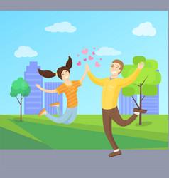 happy lovers merrily jumping boyfriend girlfriend vector image