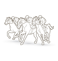 Horse racing jockey riding horse outline graphic vector