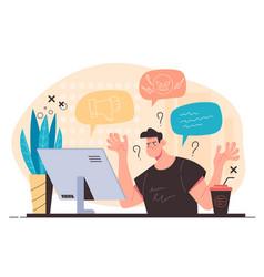 influencer blogger having negative reactions vector image