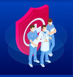 isometric doctors and nurses in a medical mask vector image