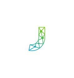 J letter network logo icon design vector