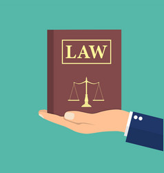 Judge lawyer holding law book in hand vector