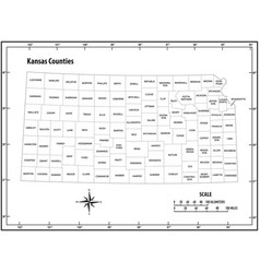 kansas state outline administrative map vector image