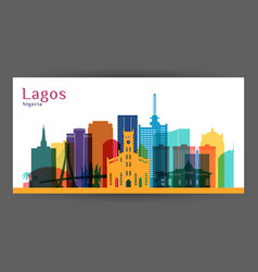 lagos city architecture silhouette colorful vector image