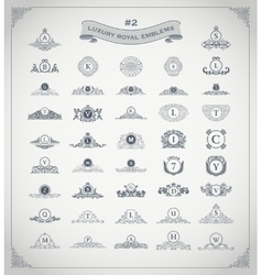 Luxury royal logo set Crest emblem heraldic vector image