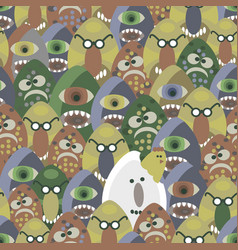 Monsters from the eggs seamless pattern vector