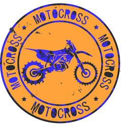 motocross club icon stamp print design logo vector image