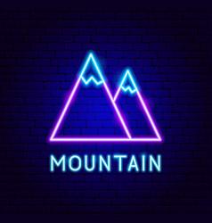 mountain neon label vector image