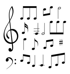 Music signs white notes and symbols on black vector