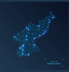 North korea map with cities luminous dots - neon vector